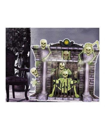 Fireplace Skeletons Halloween Wanddeko