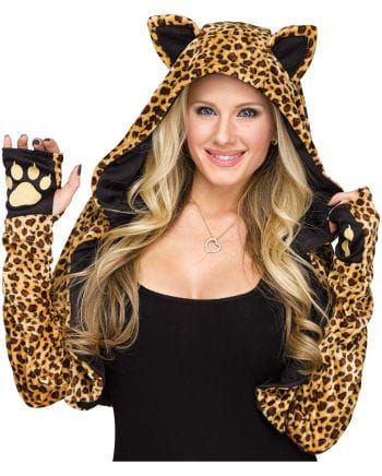 Hooded Stole With Leopard Pattern