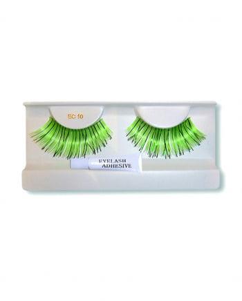 Real hair eyelashes green