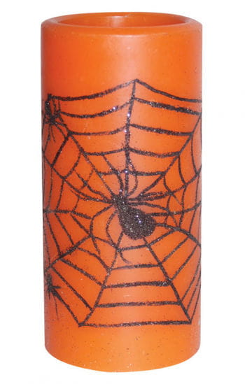 LED Candle Orange with Cobweb