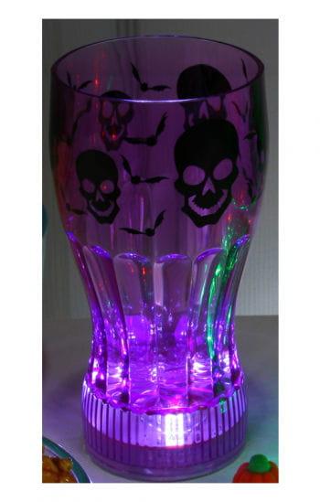Leuchtendes Halloween Trinkglas Schädel