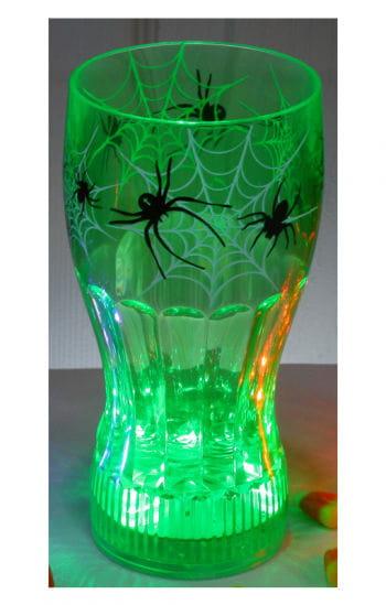 Leuchtendes Halloween Trinkglas Spinne