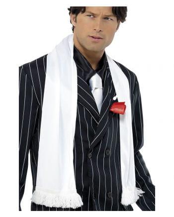 Mafia white scarf with fringe