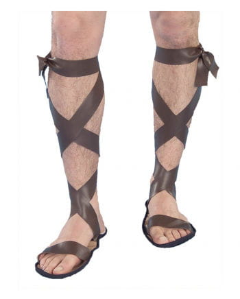 Roman sandals with lacing brown