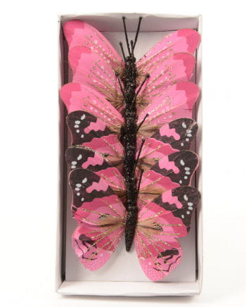 Glitter Butterfly Set of 6 10cm pink