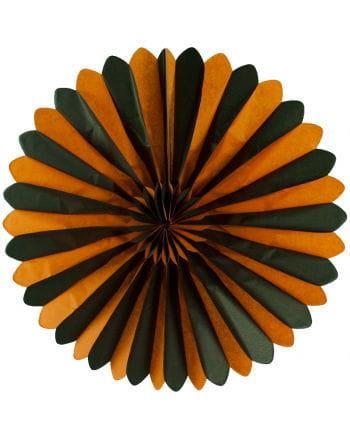 Rosettenfächer orange/schwarz 60cm