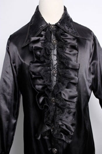 Satin shirt with ruffles black S