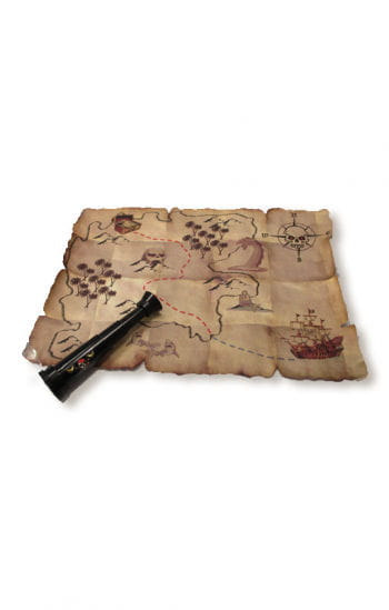 Treasure Map and Mini Telescope Red Pirate