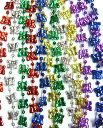 Butterfly Mardi Gras Beads 12 PCS