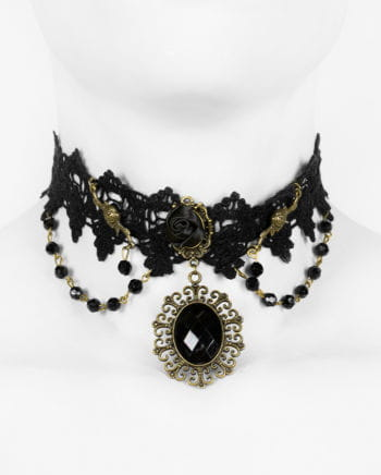 Viktorianische Halskette mit schwarzen Perlen und Spitze