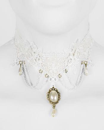 Viktorianische Halskette Weiß mit Schmuckstein