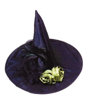 Black witch hat with green roses and feathers