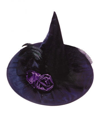 Black witch hat with purple roses and feathers