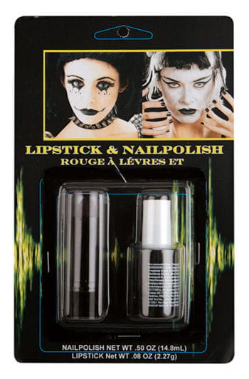 Schwarzer Nagellack & Lippenstift Set