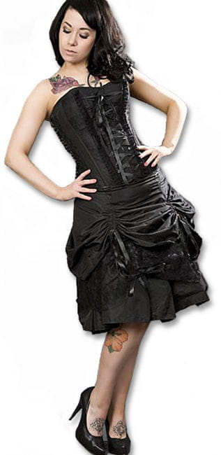 Black corsage dress with ruching