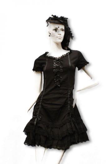 Schwarzes Kleid mit Satinschleifen