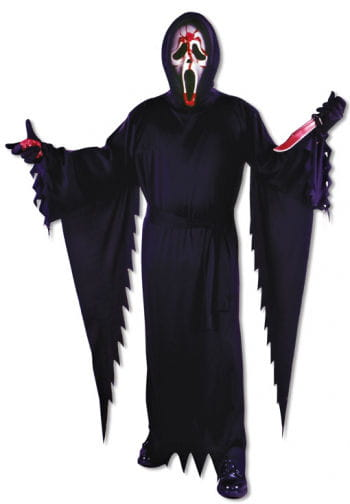 Scream costume with a bloody mask