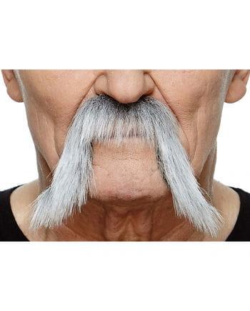 Selbstklebender Mongolen Bart schwarz-grau meliert
