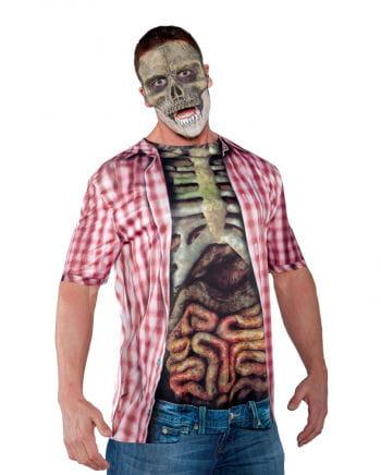 Skelett Oberkörper Shirt mit Gedärmen