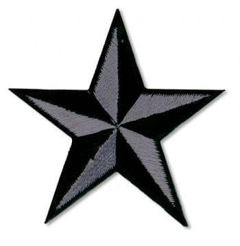 Stern Aufnäher Grau Schwarz