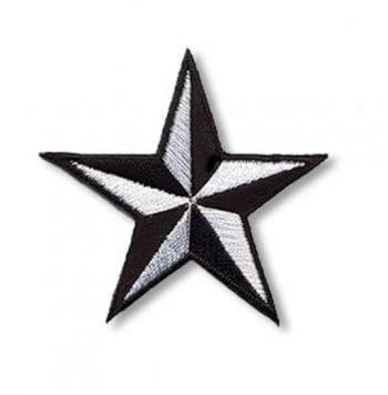 Stern Aufnäher Klein Schwarz Weiss