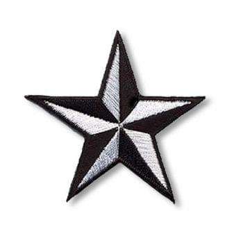 Stern Aufnäher schwarz weiß