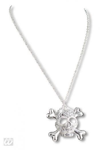 Skull necklace with rhinestone