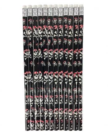 Totenschädel Piraten Bleistifte 12 St.