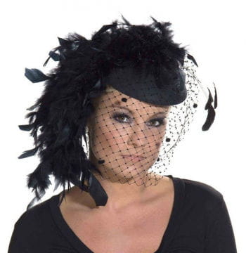 Widows pillbox hat with feathers