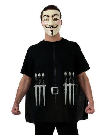 V For Vendetta T-shirt Cape & Mask XL
