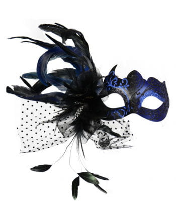Venetian eye mask with feathers blue