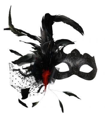 Venetian eye mask with feathers black