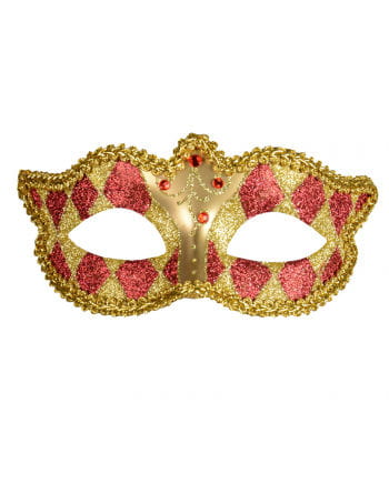 Venezianische Harlekin Maske gold/rot