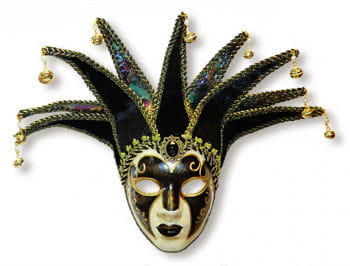 Venetian Jolly mask black and gold