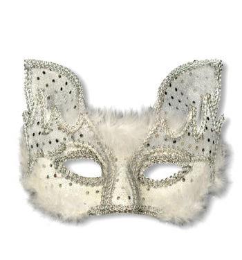 Venezianische Maske Cat Style weiss silber