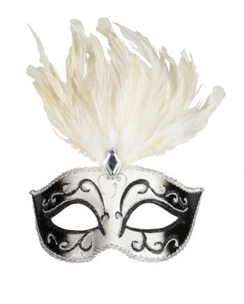 Eye mask with feathers and gemstone