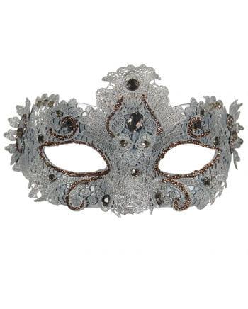 Venezianische Maske mit Spitzenbesatz silber