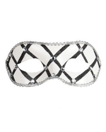 Maske mit Schmucksteinen schwarz/weiß