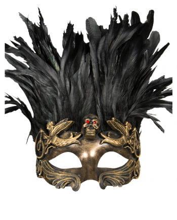 Venezianische Totenkopfmaske mit Federn gold/schwarz