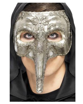 Venetian beak mask silver