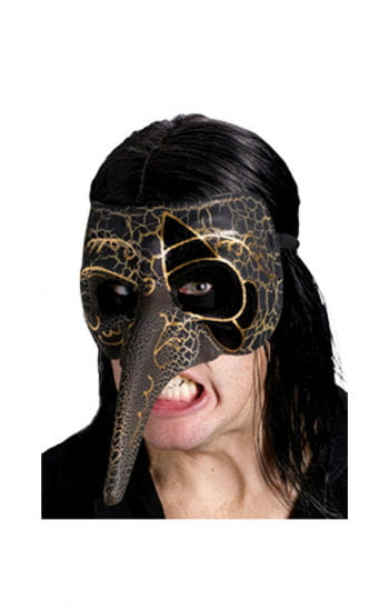 Venetian beak mask black / gold
