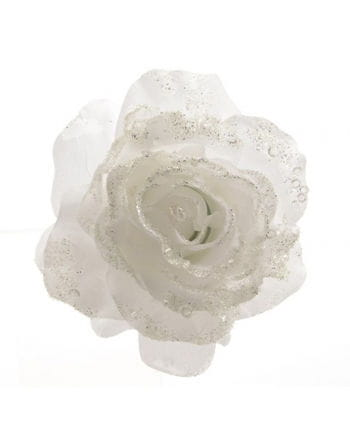 Glistening Rose Decoration with Clip White