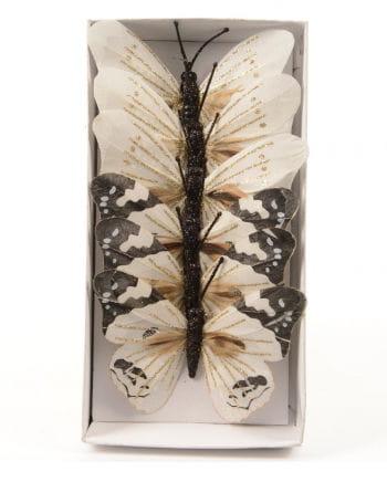 Glitter Butterfly 10 cm white 6 St.