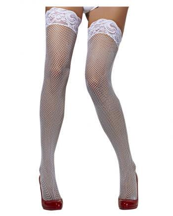 Fishnet thigh highs white