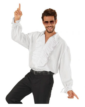 White ruffled shirt with buttons