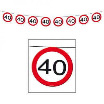 Wimpelkette Verkehrsschild 40