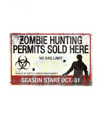 Zombie Hunting Metall-Schild