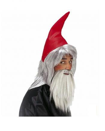 Zwergenmütze rot mit Bart
