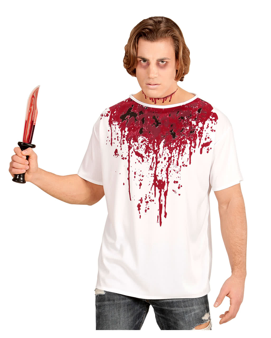 blood smeared t shirt for halloween horror parties horror. Black Bedroom Furniture Sets. Home Design Ideas