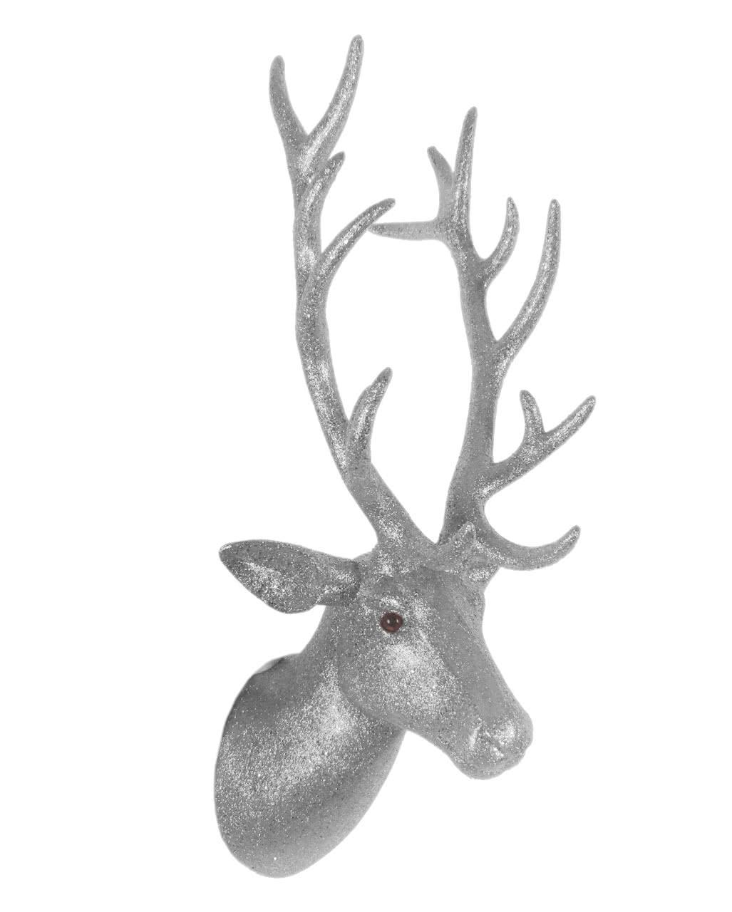 Hirschkopf mit geweih silber glitzernde wanddekoration for Silberner hirsch